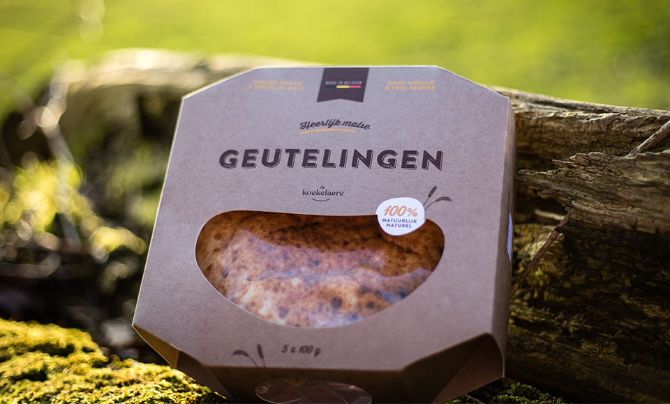 Packaging van Geutelingen. Een erkend ambachtsproduct uit de Vlaamse Ardennen.