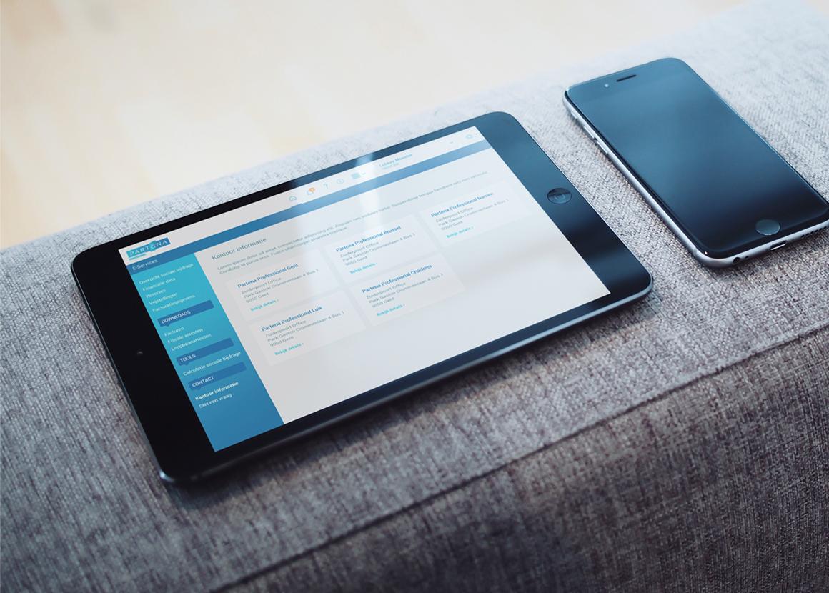 User interface voor Partena Professional op tablet.